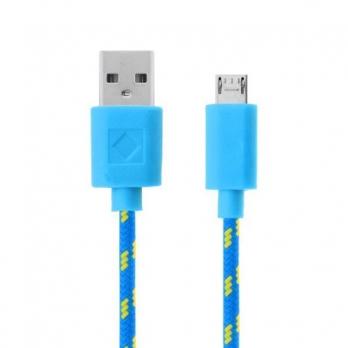 Nylon micro USB kabel 3 meter blauw