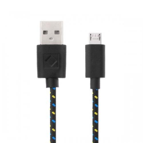 Nylon micro USB kabel 3 meter zwart