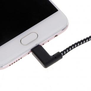 Nylon haakse Lightning naar USB kabel 1 meter