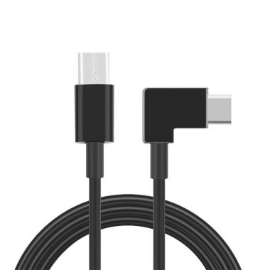 USB-C kabel male-male haaks 1 meter zwart